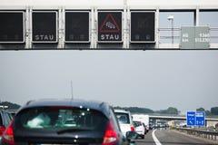 Traffic jam on an autobahn stock photos