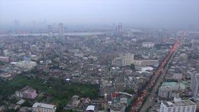 Traffic jam in bangkok city at evening. Aerial view of traffic jam in bangkok city at evening stock video footage