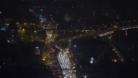 Traffic jam in bangkok city at night. Aerial view of traffic jam in bangkok city at night stock video footage