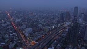 Traffic jam in bangkok city at night. Aerial view of traffic jam in bangkok city at night stock footage