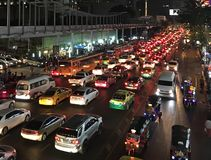 Traffic. Jam in the Bangkok city, Thailand royalty free stock photography