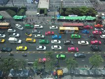 Traffic. Jam in Bangkok city, Thailand royalty free stock photo
