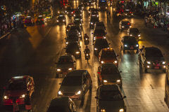 Traffic Jam in Bangkok by Night Royalty Free Stock Photo