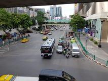 Traffic jam in Bangkok street during rush hour stock image