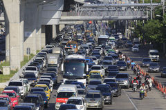Daily Traffic jam in Bangkok. Royalty Free Stock Photography