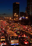 Traffic jam in Beijing. BEIJING-OCTOBER 25: Traffic jam in Beijing's Central Business District at night on Oct 25, 2010 in Beijing, China. Traffic jams have been Royalty Free Stock Image