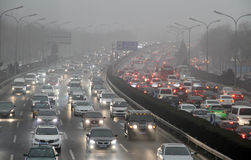 Traffic jam in Beijing, China Royalty Free Stock Images