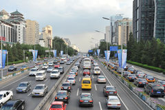 Traffic jam in Beijing's Central business district Stock Photography