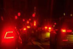 Traffic jam at big city back view. Traffic jam at the city centre back view at the night Royalty Free Stock Photos