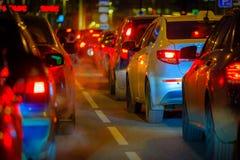 Traffic jam at big city back view Stock Image