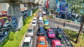 Traffic Jam on big road in heart of Bangkok Stock Images