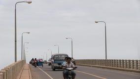 Traffic jam , bridge , time lapse, cambodia. Southeast asia, Cambodia, Kampong cham town, november 2013. Cambodian road traffic in Kizuna bridge (2 stock footage