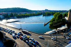Traffic jam on bridge, Vltava river in Prague, Czech Republic. royalty free stock images