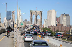 Traffic jam Brooklyn bridge Royalty Free Stock Photography