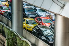 Traffic jam on the BTS sky train route royalty free stock photography