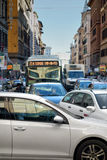 Traffic Jam Bus Cars City Downtown Messy Stock Photos
