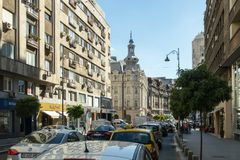 The traffic jam on the Calea Victoriei street in Bucharest city in Romania royalty free stock image