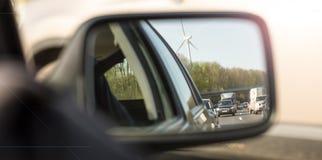 Traffic jam in car mirror Royalty Free Stock Photos