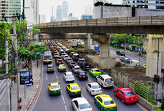 Traffic jam car on Road in the morning rush hour in Thailand. Photo Royalty Free Stock Image