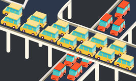 Traffic jam car waiting stuck in line road city Stock Photos