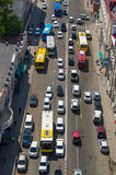 Traffic jam. Cars and buses,  urban scene. Royalty Free Stock Photos