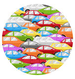 Traffic Jam With Cars Circle Icon  on White Stock Photo