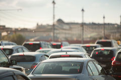 Traffic jam. Cars in traffic jam in a city during rush hour Stock Photos