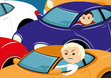 Traffic jam with colored cars. Traffic jam with cars and despondent drivers royalty free illustration