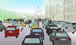 Traffic jam of cars. On the main street royalty free illustration
