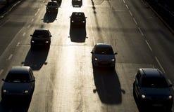 Traffic jam cars street silhouette Stock Images