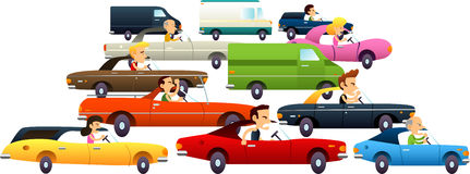 Traffic jam cartoon icons Royalty Free Stock Photos