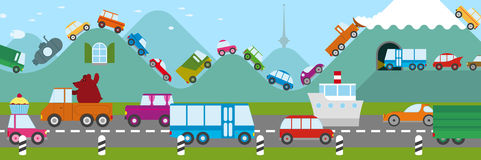 Traffic jam. Cartoon illustration of a traffic jam in a freeway and along the royalty free illustration