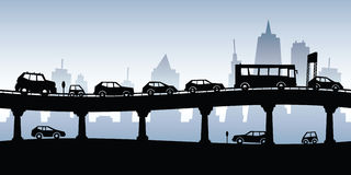 Traffic Jam. Cartoon silhouette of a traffic jam on a raised highway vector illustration
