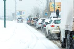 Winter storm traffic Stock Images