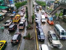 Traffic jam caused from rain flooding Royalty Free Stock Images