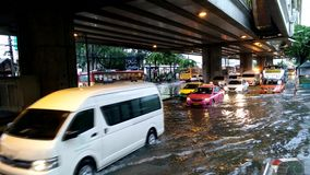 Traffic jam caused from rain flooding. Bangkok, Thailand - MAY 25,2017 : Terrible flooding in early morning on workday caused from heavy rainy all night stock video