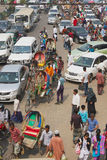 Traffic jam at the central part of the city in Dhaka, Bangladesh. Royalty Free Stock Photo