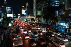 Traffic Jam in Central World Bangkok on Ratchadamri rd. BANGKOK - APRIL 07 : Traffic Jam in Central World Bangkok on Ratchadamri rd. at night on April 07, 2017 Stock Photos