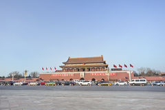 Traffic jam at Chang An Avenue, with Palace Museum on the background, Beijing, China Royalty Free Stock Image
