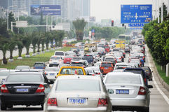 Traffic jam in Chengdu Royalty Free Stock Photos