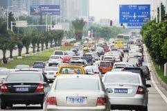 Traffic jam in Chengdu royalty free stock photos