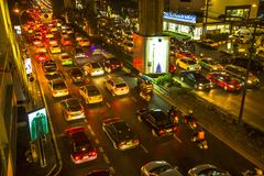 Traffic jam in city centre at night. Bangkok's traffic problem getting worse Royalty Free Stock Photography