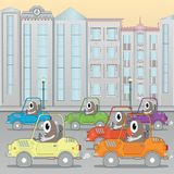 Traffic jam in the city, horizontal seamless image Royalty Free Stock Photos
