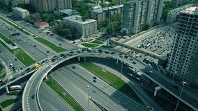 Traffic jam on city road junction in Moscow. Russia. 4K aerial clip stock video