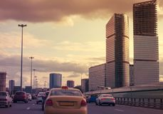 The traffic jam on a city road Stock Images