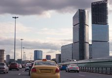The traffic jam on a city road Stock Photography