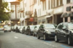 Traffic jam in a city street road row of car royalty free stock images