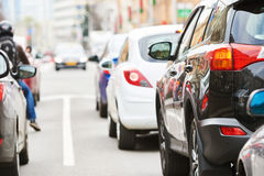 Traffic jam in a city street road Stock Images