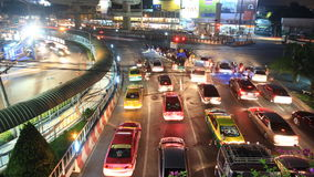 Traffic jam in city, time lapse at night Royalty Free Stock Image