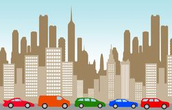City traffic jam cars. Traffic jam in a city with too many cars Stock Image